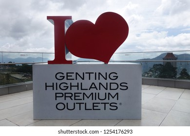 """GENTING HIGHLANDS, MALAYSIA- DEC 03, 2018 : The """" I love Genting Highlands Premium outlets """" sign in red being display at Genting Hinglands premium outlets."""