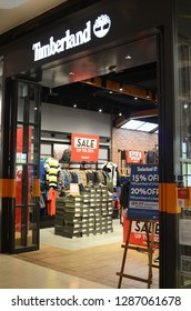 GENTING HIGHLANDS, MALAYSIA- DEC 03, 2018: Timberland LLC retailer in Genting Highlands, Malaysia. Timberland LLC is an American manufacturer and retailer of outdoors wear