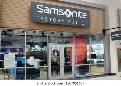 GENTING HIGHLANDS, MALAYSIA- DEC 03, 2018 : Samsonite store in Genting Highlands Premium Outlet, Malaysia. Samsonite International S.A. is an American luggage manufacturer and retailer