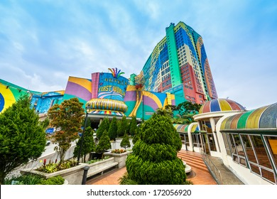GENTING HIGHLANDS, MALAYSIA - DECEMBER 21 : Front view of First word hotel on Dec 21,13 in Genting Highlands, Malaysia. It's a three-star hotel with a total of 6,118-rooms.