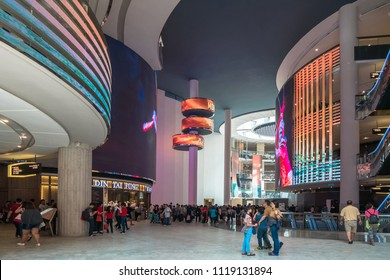 Genting Highlands, Malaysia - Oct 18,2017 : SkyAvenue is a new shopping mall with LED display that spreads across an entire atrium within the mall in Genting Highlands.