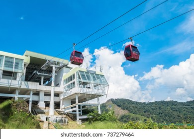 Genting Highlands, Malaysia - October 18,2017 : Awana Skyway cable car is a gondola lift system connecting Chin Swee Temple ,Awana Transport Hub and SkyAvenue in Genting Highlands, Pahang, Malaysia