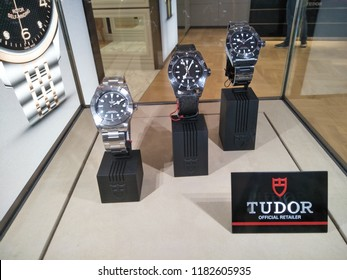Genting Highlands, Malaysia - September 2018: Tudor luxury watches brand for sale in shop window display at Sky Avenue, Genting Highlands, Malaysia.