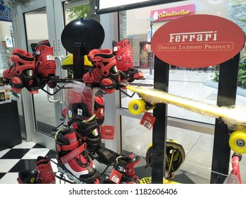 Genting Highlands, Malaysia - September 2018 : Various type of Ferrari Official Licensed product display for sale at Toy World store, Genting Premium Outlet.