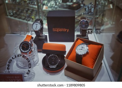Genting Highlands, Malaysia - September 2018: Superdry luxury watches brand for sale in shop window display at Genting Premium Outlets Genting Highlands, Malaysia.