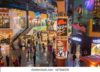 Genting Highlands, Malaysia - SEPTEMBER 26: Pizza Hut and KFC banners at Resort World Genting on Sep 26, 2013 in Genting Highlands, Pahang, Malaysia