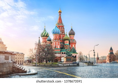 Gentle blue sky over St. Basil's Cathedral on Red Square in Moscow and the steps of  Lobnoe Mesto