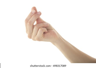 A gentle female hand is holding something or making a where's my money gesture with her right hand on isolated white background.