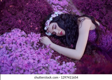 a gentle and graceful girl sleeps on a magical purple flower field, a dreaming beauty with long dark hair and a pink wreath in a purple dress, a new fairy tale about Thumbelina, bright artwork