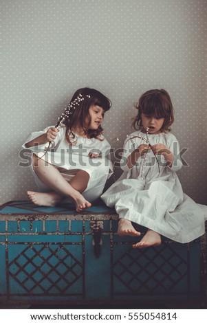 Gentle Sister Girls Retro Talking Hugging Stock Photo (Edit Now ... 1811c12f2