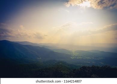 gentle sun rays over shenandoah