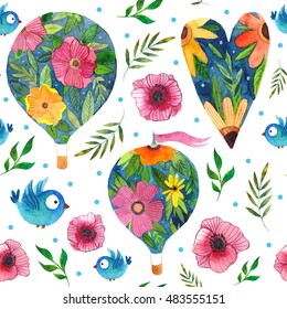 Gentle watercolor romantic seamless pattern with air baloons, flowers, hearts and birds, wonderful for wedding, Valentine's day and other holidays
