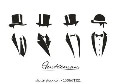 Gentleman icon on white background.