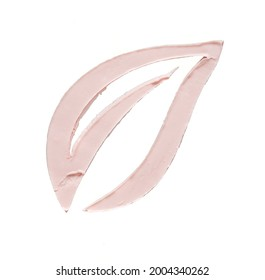 Gently pink smear and texture of face cream or acrylic paint in the shape of flower leaf isolated on white background