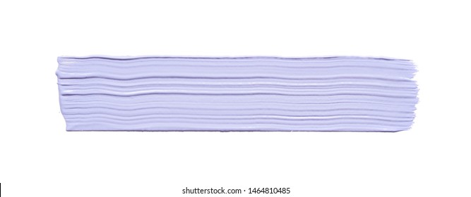 Gently purple strokes and texture of face cream or acrylic paint isolated on white background