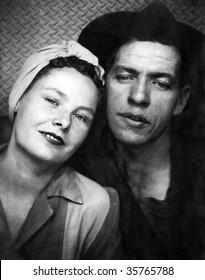 Genuine 1940 Era Factory Worker Couple Portrait. Some Original Print Damage Visible.