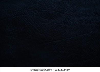 Genuine black full grain leather texture, Cowhide background