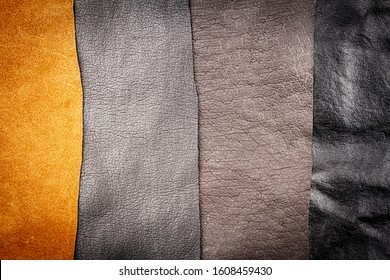 Genuine brown and black leather textures background. Abstract vintage natural cow skins backdrop. Different leather stripes.