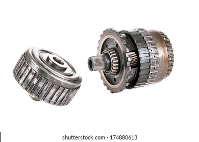Genuine Car Transmission Gears and parts. Heavy Metal Gears, Cogs, Splines, Teeth, Bearings and more isolated on white for all your Transmission parts images needs. Images easily removed clipped out