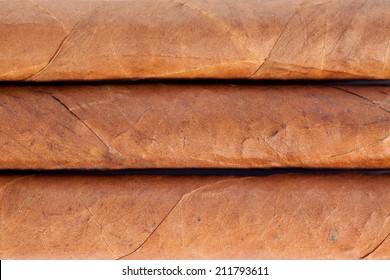 Genuine Cuban cigars closeup macro with texture details