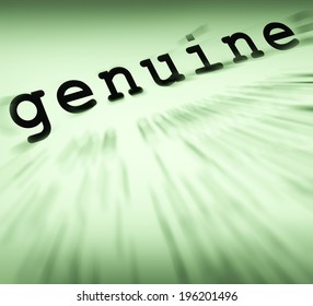 Genuine Definition Displaying Certificated Stamp Or Guarantee Certified