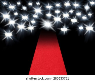 Genuine images of flashguns firing with highlights added and a red carpet as used in award ceremonies and film openings etc.