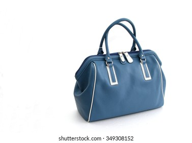 Genuine leather blue bag isolated on white background