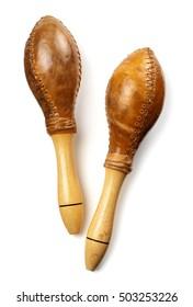 genuine leather classic cuban maracas isolated