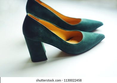 5c896e8684e Genuine leather high heels woman s shoes. Made in Italy. Deep green  chamois. Vintage