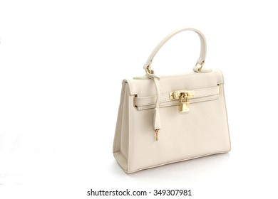 Genuine leather white bag isolated on white background