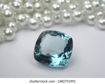 genuine mined natural blue sapphire fancy shape cutting with white pearls