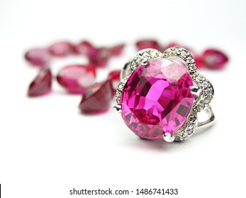 genuine mined natural pink sapphire with ring setting