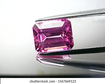 genuine mined natural pink sapphire square emerald cutting shape for design gold setting jewellery.