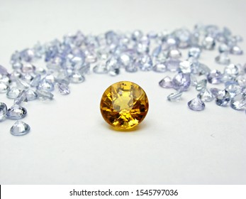 genuine mined natural yellow sapphire round shape cutting precious gemstone on white background for design jewelry setting.