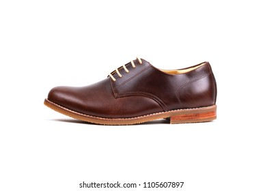 Genuine oil pull up Leather men derby shoes isolated on white background.