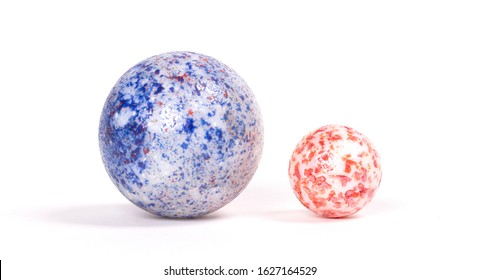 Genuine old glass marbles, vintage toy, isolated on white