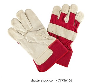 Genuine white leather and red fabric work gloves over white background