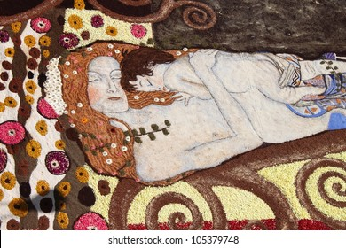 GENZANO, ITALY - JUNE 17: Floral Carpet in honor of Gustav Klimt on June 17, 2012 in Genzano, Italy. This event takes place every year and every sector honors a specific artist or subject.