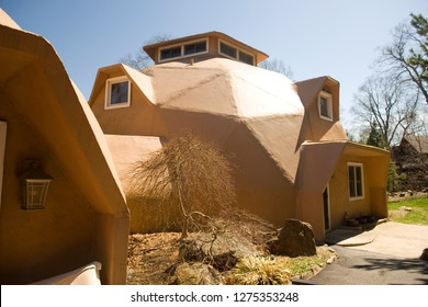geodesic dome home residential house in suburban setting