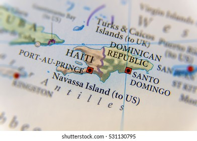 Geographic Haiti and Dominican Republic map