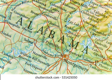 Geographic map of Alabama close