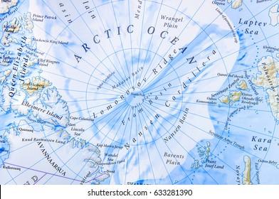 Geographic map of Arctic Ocean close location