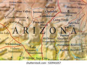 Geographic map of Arizona state close