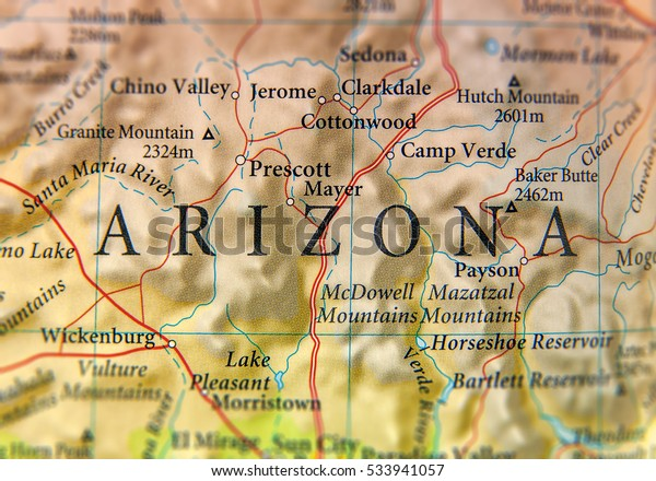 Map Of Arizona Including Jerome.Geographic Map Arizona State Close Stock Photo Edit Now 533941057