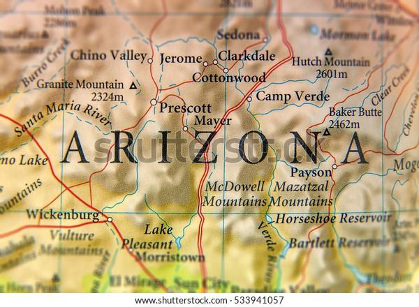 Map Of Arizona Including Jerome.Geographic Map Arizona State Close Stock Photo Edit Now 533941057