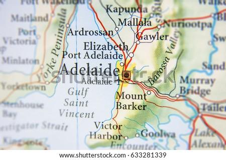 Map Adelaide Australia.Geographic Map Australia Adelaide City Stock Photo Edit Now