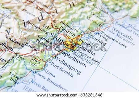 Map Of Australia Sydney.Geographic Map Australia Sydney City Stock Photo Edit Now