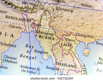 Geographic map of Burma, Bangladesh, and Laos country with important cities