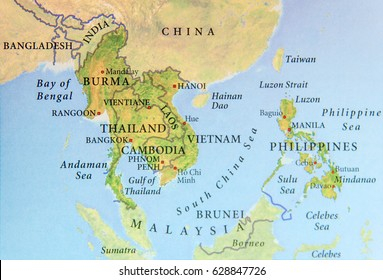 Burma map images stock photos vectors shutterstock geographic map of burma thailand cambodia vietnam and philippines with important cities gumiabroncs Image collections