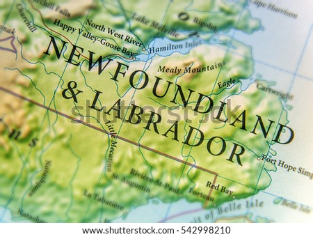Geographic Map Canada Country Newfoundland Labrador Stock Photo